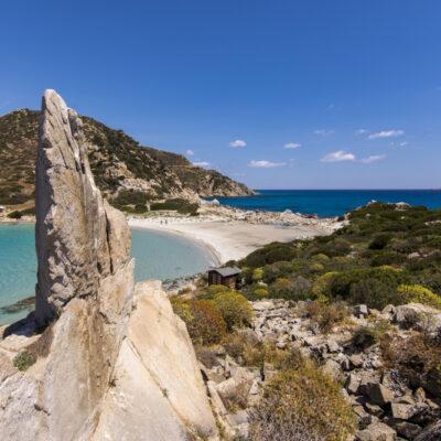 A View Of Beautiful Beach At Punta Molentis, Villasimius, Sardinia, Italy